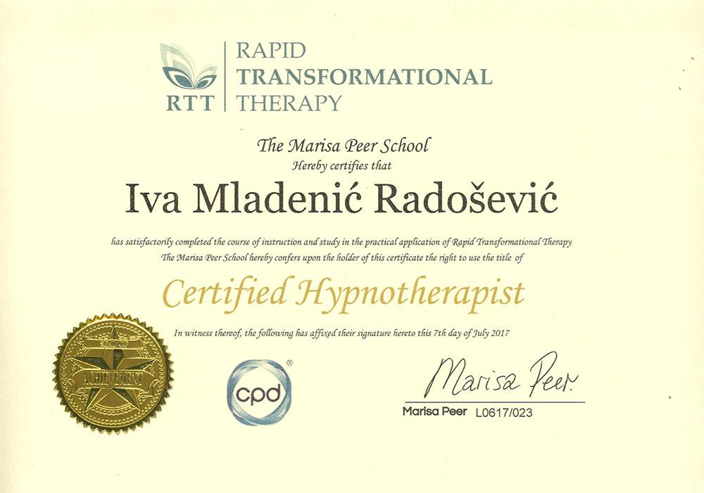 Certifikat hipnoterapeut